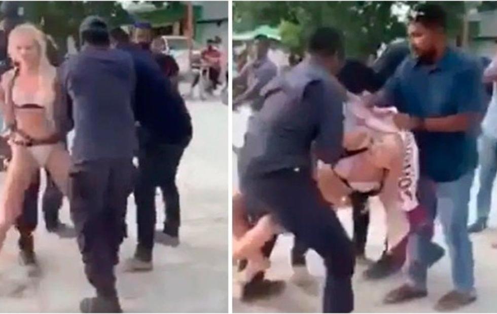 Video viral: La brutal detención de una mujer en una playa por usar bikini