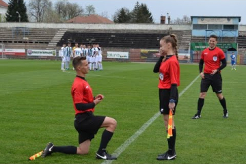Assistant referee proposal before a football game in Romania