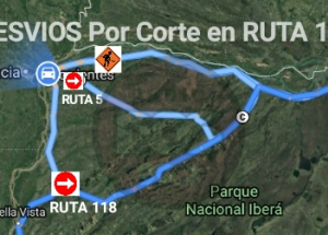 Mapa: Corte total de tránsito por socavamiento de la Ruta 12 en Corrientes