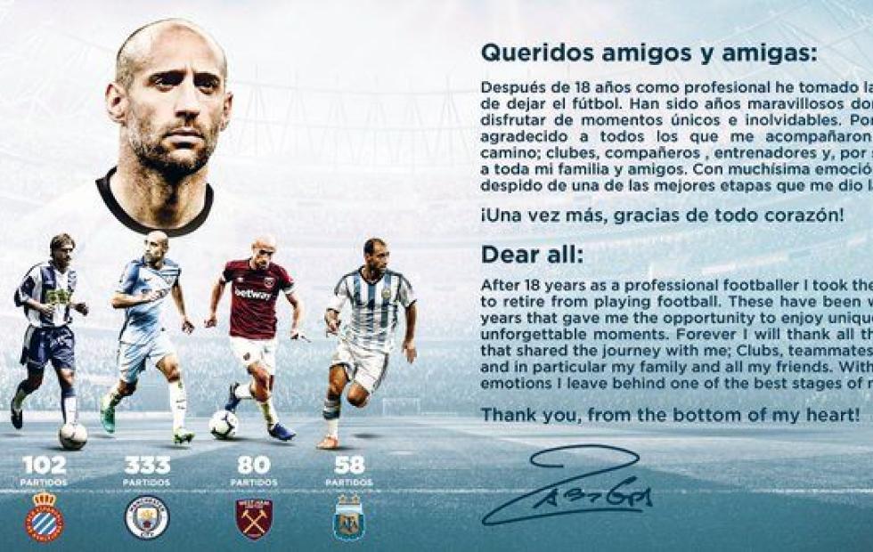 Pablo Zabaleta anunció su retiro del fútbol profesional