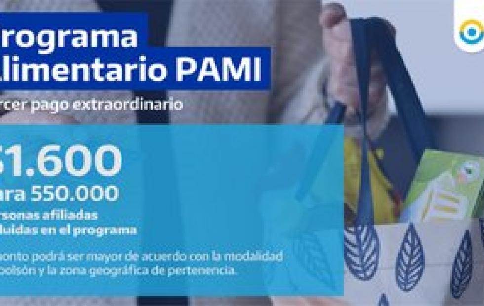 Dan a conocer la fecha de pago de la tercera cuota del bolsón de mercadería del PAMI