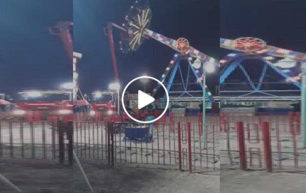 Pánico en un parque: Se rompió un juego y la gente quedó atrapada en el aire