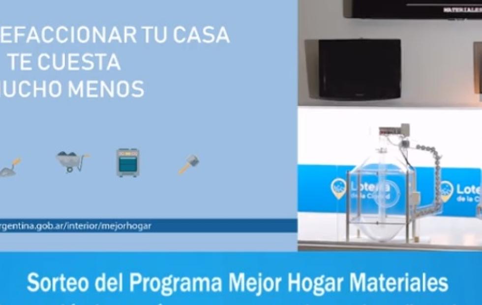 Video: El Gobierno realizó el segundo sorteo de Mejor Hogar Materiales