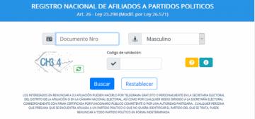 REGISTRO NACIONAL DE AFILIADOS A PARTIDOS POLITICOS