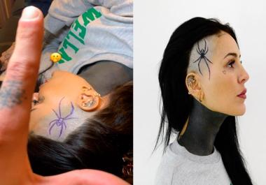 Cande Tinelli se hizo un impactante tatuaje de una araña en la cabeza