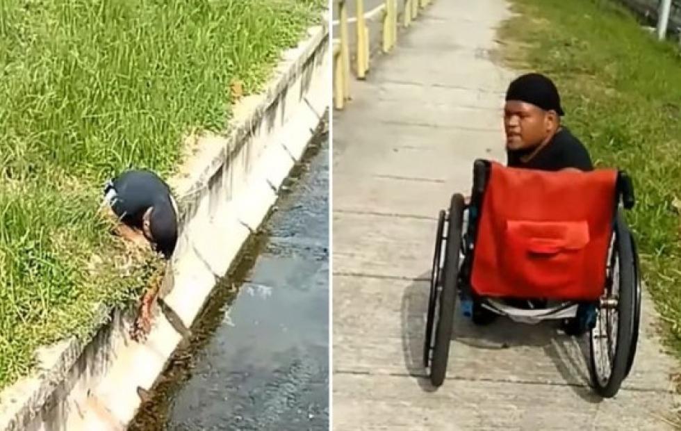 Video viral: Deportista con discapacidad abandona su silla de ruedas para salvar a un gato