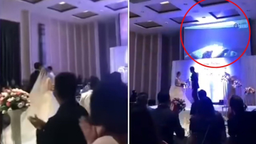 WEDDING HELL-Groom 'plays video of cheating bride in bed with another man at their wedding