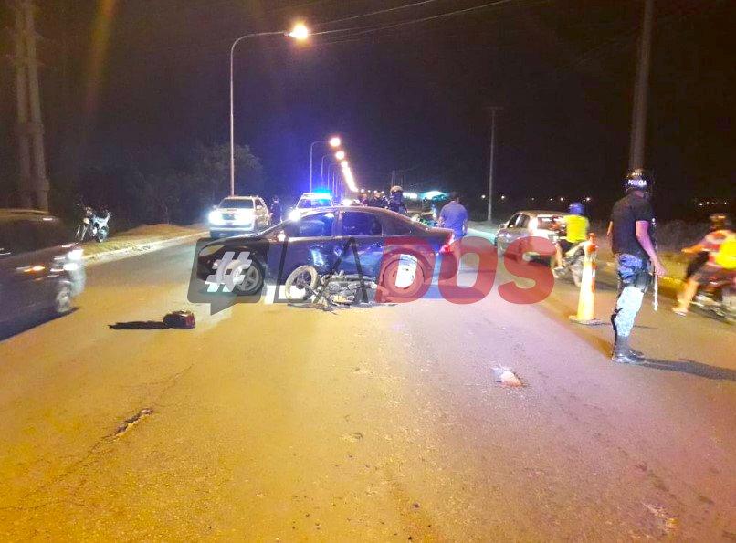 Accidente auto moto maipu