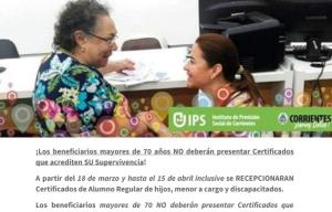 Los beneficiarios mayores de 70 años no deberán presentar Certificado de Supervivencia