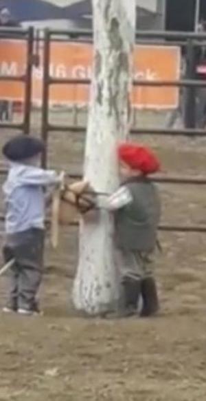 """¡Pequeño corajudo!: El video viral de un niño """"jineteando"""" un caballo de juguete"""