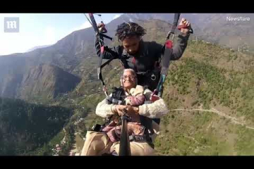 Video: 'Chilled out' grandmother films herself paragliding for the first time
