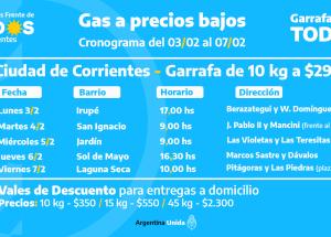 """Corrientes: Cronograma del programa """"Garrafa para Todos"""" en los barrios"""