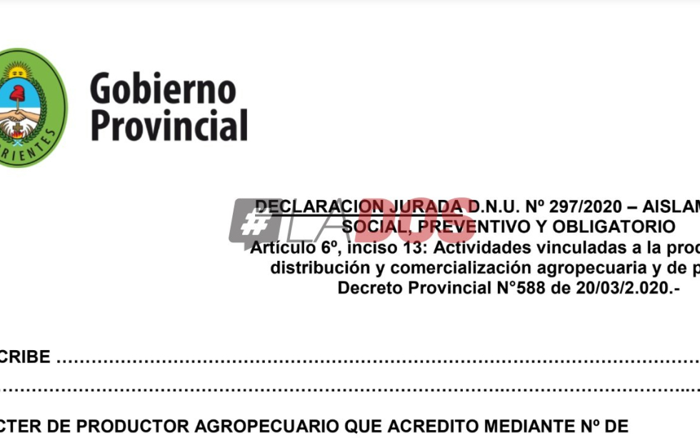 Coronavirus en Corrientes: Descargá los Modelos de Permisos para circulación