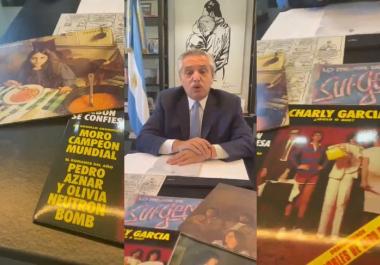 Alberto Fernández saludó a Charly García y mostró discos de su colección