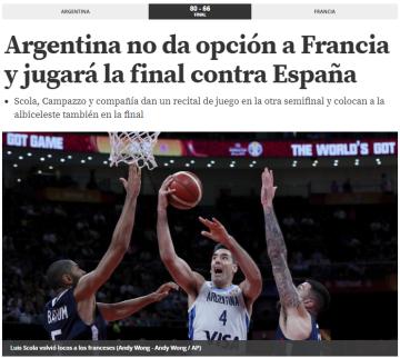 Mundo Deportivo de España destaca el poderío argentino.